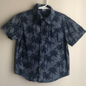 BOYS 4T Chambray Palm Tree SL Button Up